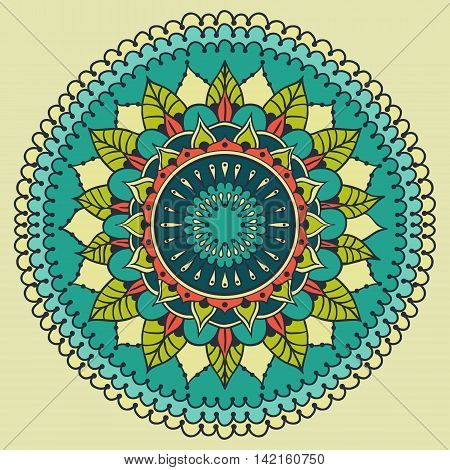 Card with colored circular floral ornament. Floral round mandala for the greeting cards invitation template frame design for business style cards or else. Vector illustration.