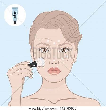 Beauty woman face and primer tube. Girl put the primer on her face. Scheme of correctly applying the primer on the face. Directional arrows. Female face bare shoulders and hand with brush for make-up