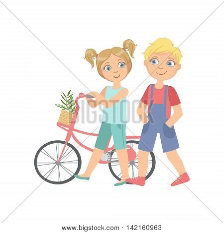 Boy And Girl Walking With The Bicycle Together Bright Color Cartoon Simple Style Flat Vector Sticker Isolated On White Background