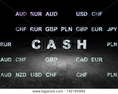 Currency concept: Glowing text Cash in grunge dark room with Dirty Floor, black background with Currency