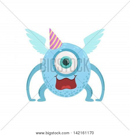 Blue Winged Friendly Monster In Party Hat Cute Childish Sticker. Flat Cartoon Colorful Alien Character With Party Attributes Isolated On White Background.