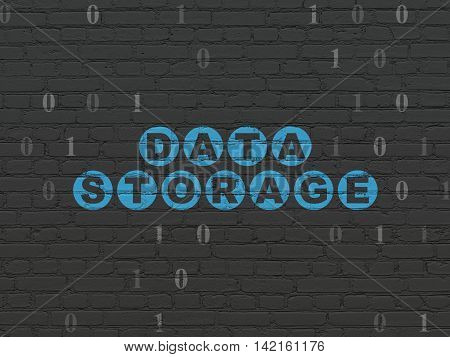 Data concept: Painted blue text Data Storage on Black Brick wall background with Binary Code