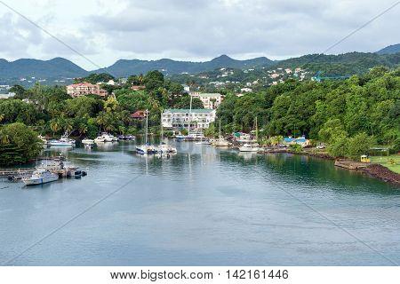 port city Castries on island St.Lucia, Caribbean