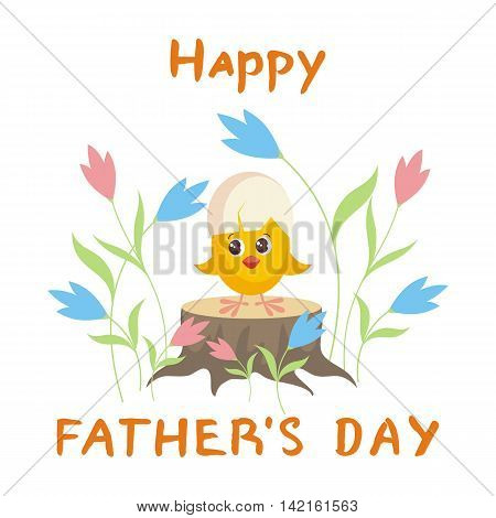 father's day greeting card. little yellow chicken with an egg shell on the head