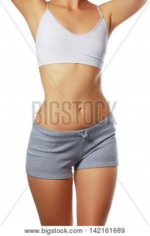 Beautiful Woman Body.perfect Shining Skin For Summer. Slim Tanne