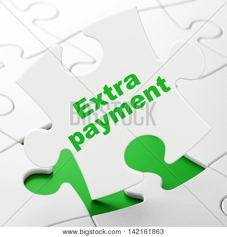 Banking concept: Extra Payment on White puzzle pieces background, 3D rendering