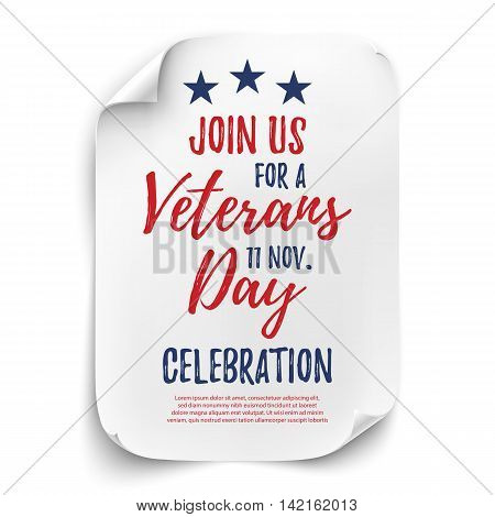 Veterans Day party celebration invitation poster or brochure template. Curved paper sheet on white background. Vector illustration.