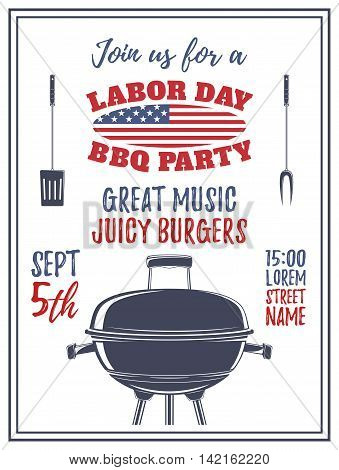 Labor Day barbecue party background. Poster, brochure or flyer template. Vector illustration.