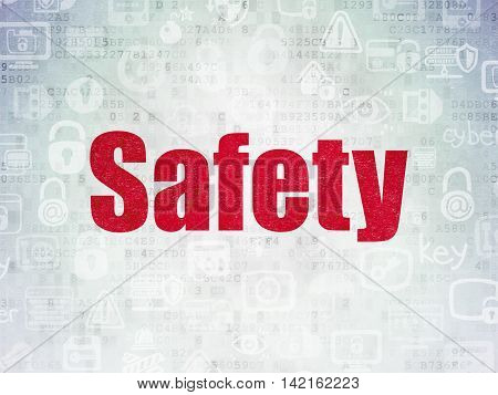 Privacy concept: Painted red text Safety on Digital Data Paper background with   Hand Drawn Security Icons