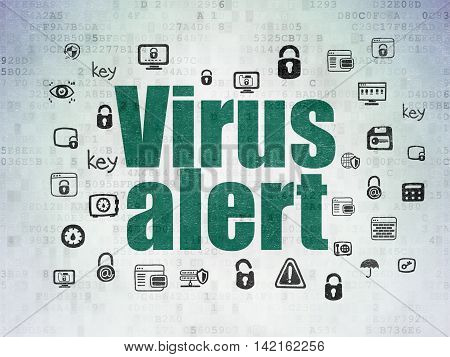 Security concept: Painted green text Virus Alert on Digital Data Paper background with  Hand Drawn Security Icons