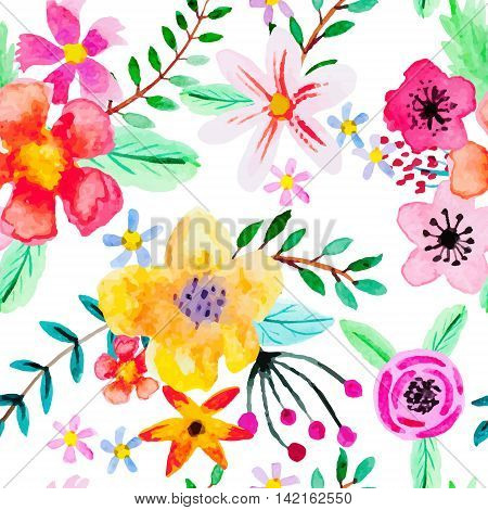Seamless pattern with abstract watercolor flowers. Red pink yellow and orange flowers on a white background. Bright beautiful background for your design.