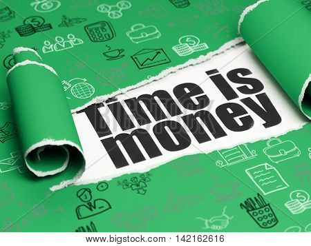 Finance concept: black text Time is Money under the curled piece of Green torn paper with  Hand Drawn Business Icons, 3D rendering