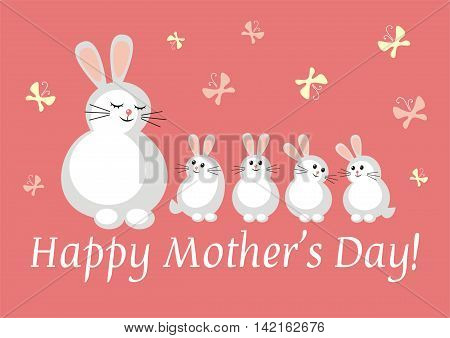 Mothers Day greeting card. doe hare with bunnies