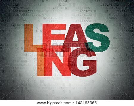 Business concept: Painted multicolor text Leasing on Digital Data Paper background