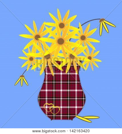 blue background and abstract sewing plaid vase with yellow flowers