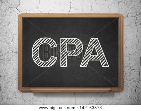 Business concept: text CPA on Black chalkboard on grunge wall background, 3D rendering