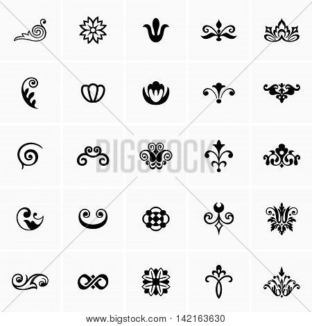 Set of many different floral design elements