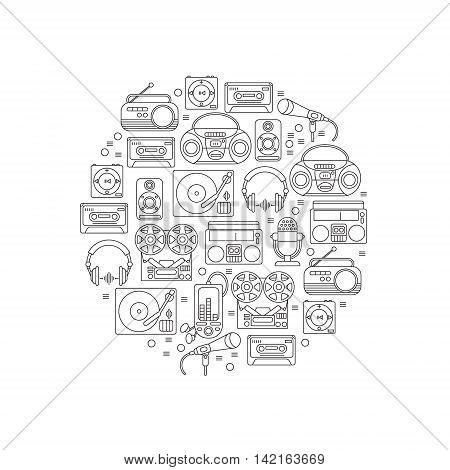 Music and audio icons in a linear style symbols of retro tape cassette boombox turntable records in a circular shape.