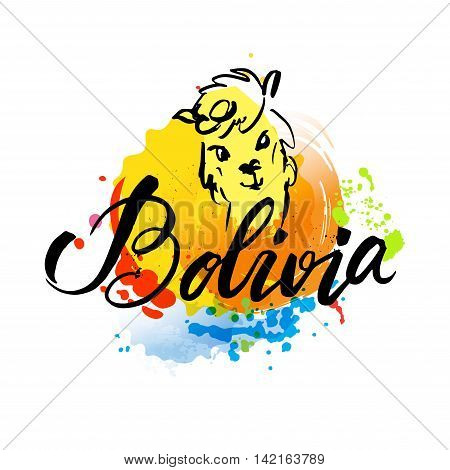 Welcome to Bolivia. Vector welcome card with national flag of Bolivia.hand lettering and colorful watercolor elements background. Vector illustration hand drawn isolated
