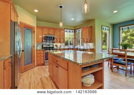Light Brown Storage Combination In Large Kitchen Room