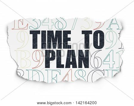 Time concept: Painted black text Time to Plan on Torn Paper background with  Hexadecimal Code