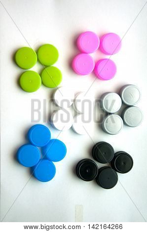 Many of recycled plastic bottle caps, top view