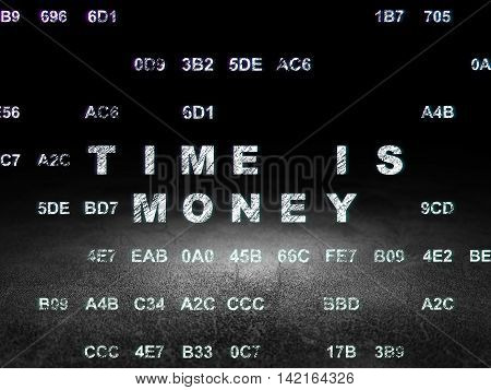 Timeline concept: Glowing text Time is Money in grunge dark room with Dirty Floor, black background with Hexadecimal Code