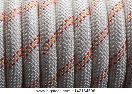 Close-up of thick white nylon rope bunch