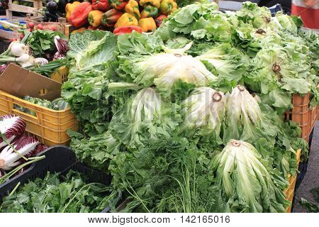 Cabbage and other vegetables on spontaneous market in summer