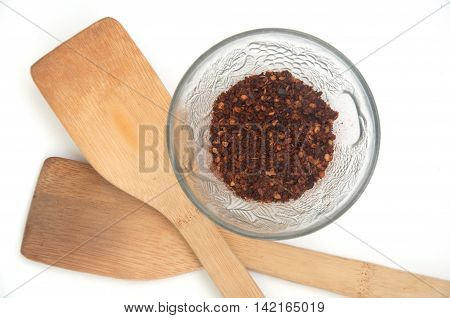 Cayenne pepper on white background, top view