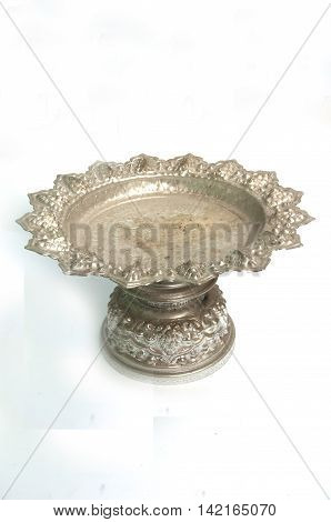 silver tray with pedestal in isolated white background