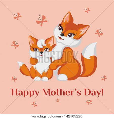 mother a fox embraces a little young fox. a greeting card with a Mother's Day.
