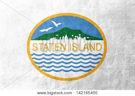 Flag Of Staten Island, New York, Usa, Painted On Leather Texture
