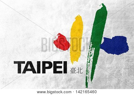 Flag Of Taipei City, Taiwan, Painted On Leather Texture