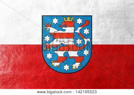 Flag Of Thuringia With Coat Of Arms, Germany, Painted On Leather Texture