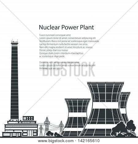 Silhouette Nuclear Power Plant and Text, Thermal Power Station ,Nuclear Reactor and Power Lines,Black and White Vector Illustration