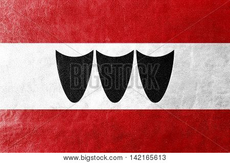Flag Of Trebic, Czechia, Painted On Leather Texture