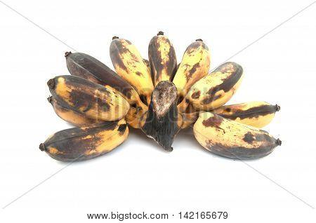 Yellow of Bruised Banana on white background