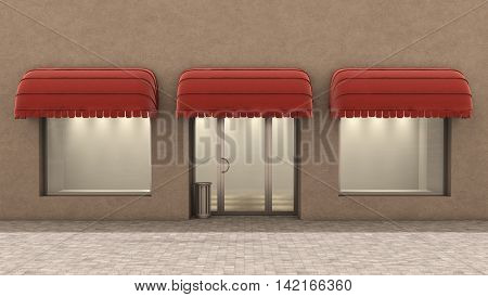 Shop Front. Exterior horizontal windows empty for your store product presentation or design. Eps10 vector