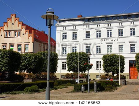 Bergen.June-06-2016. City hall in the city of Bergen on the island Ruegen. Germany