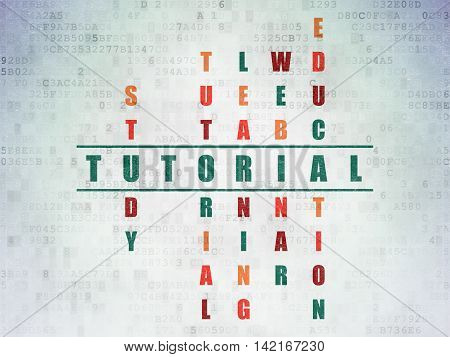 Learning concept: Painted green word Tutorial in solving Crossword Puzzle on Digital Data Paper background