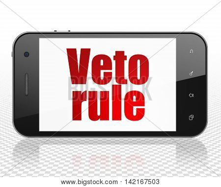 Politics concept: Smartphone with red text Veto Rule on display, 3D rendering