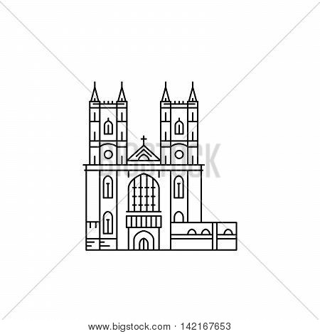 Westminster Abbey in London outline vector isolated.