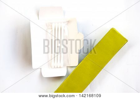 Cotton swabs with on sticks isolated on a white