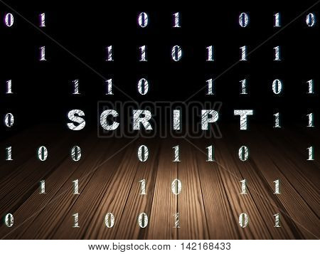 Programming concept: Glowing text Script in grunge dark room with Wooden Floor, black background with Binary Code