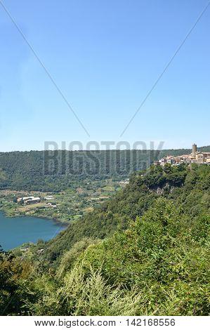 The town of Nemi and its volcanic lake in the Castelli Romani in Lazio