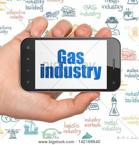Industry concept: Hand Holding Smartphone with  blue text Gas Industry on display,  Hand Drawn Industry Icons background, 3D rendering