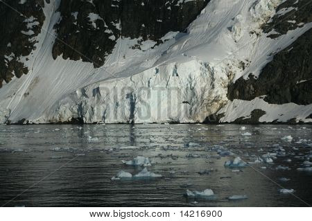 Glaciated Mountains And Icefall