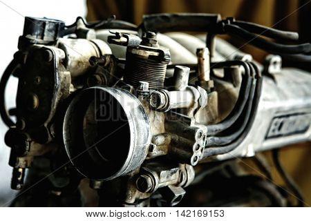 car engine inside view shallow dof