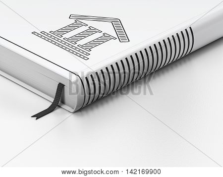 Law concept: closed book with Black Courthouse icon on floor, white background, 3D rendering